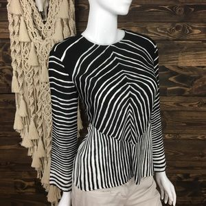 Halston Heritage | Striped Cutout Blouse